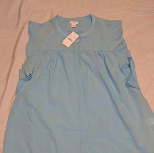 JCrew light blue ruffle shirt, size 14 NWT